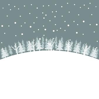 Winterlandschap kerstkaart met bomen in de sneeuw