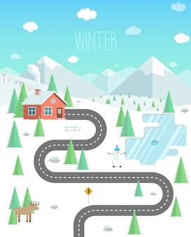 Winterlandschap met bergen, bos en meer. weekend in de natuur. huis in het bos platte vectorillustratie.