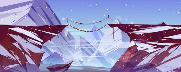 Winterlandschap met bergen hangbrug over afgrond en ijs pieken cartoon afbeelding van sneeuw rotsen houten touwbrug over de afgrond tussen kliffen en sneeuwval