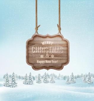Winterlandschap met een houten versierd merry christmas-teken. vector.