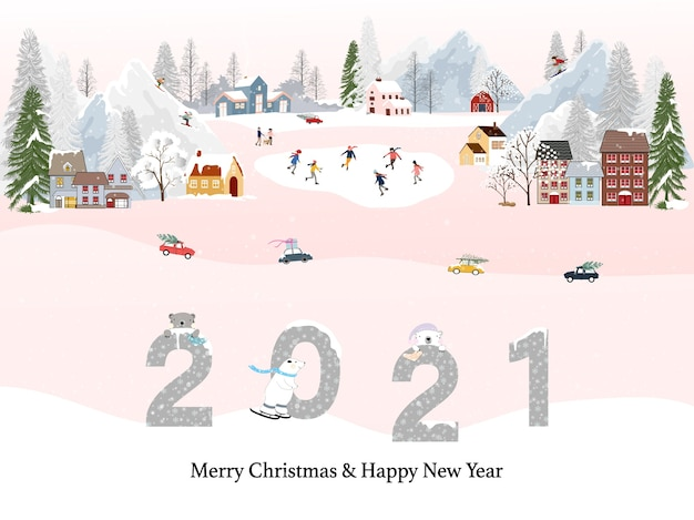 Winterlandschap met gelukkig nieuwjaar 2021 en vrolijk kerstfeest, mensen die plezier hebben tijdens het doen van buitenactiviteiten op nieuwjaar, kerstdag in dorp met mensenviering