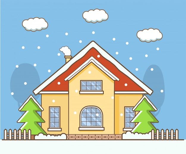 Winterlandschap met het land privé huis.