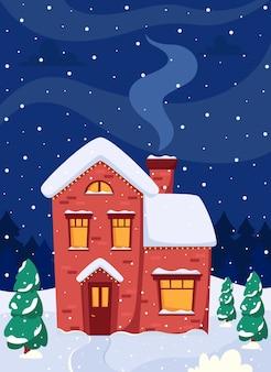 Winterlandschap met huis firtrees maan