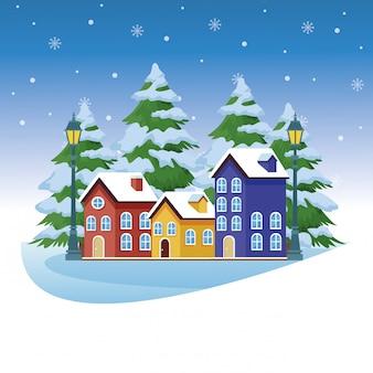 Winterlandschap met huizen