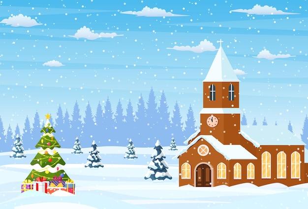 Winterlandschap met kerk
