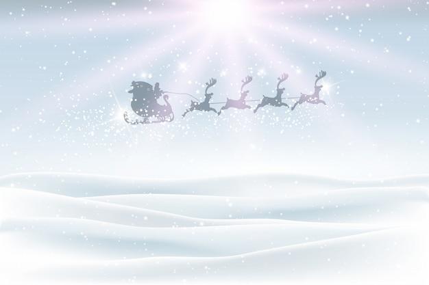 Winterlandschap met kerstman vliegen in de lucht
