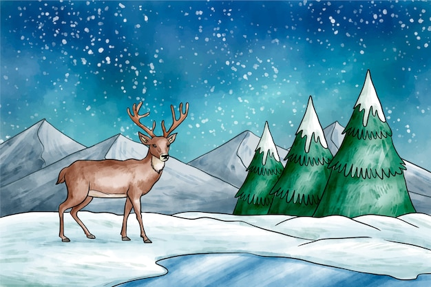 Winterlandschap met rendieren achtergrond
