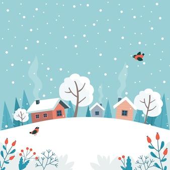 Winterlandschap met schattige huis, velden en natuur.
