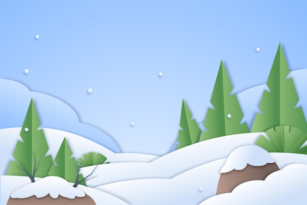 Winterlandschap met sneeuw en bomen in papierstijl