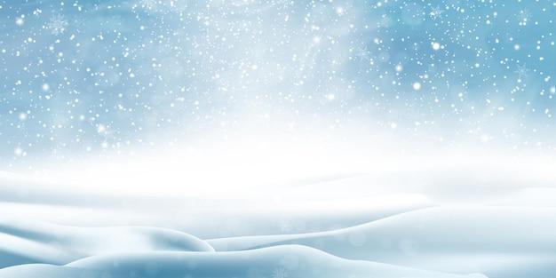 Winterlandschap met vallende sneeuw, besneeuwde achtergrond.