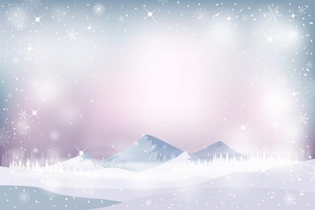 Winterlandschap met vallende sneeuw