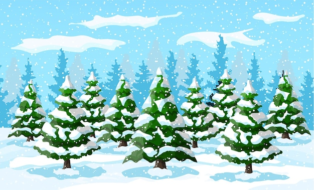 Winterlandschap met witte pijnbomen op sneeuw heuvel. kerstlandschap met sparrenbos en sneeuwt. gelukkig nieuwjaarsfeest. nieuwjaar kerstvakantie.
