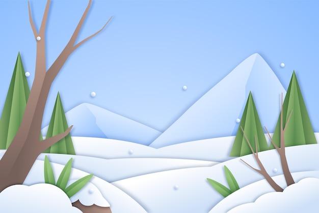 Winterlandschap op papier stijl achtergrond