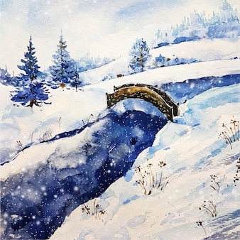 Winterlandschap van het meer en de brug
