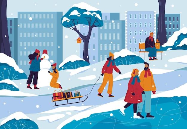 Winterlandschap van stads- of stadspark