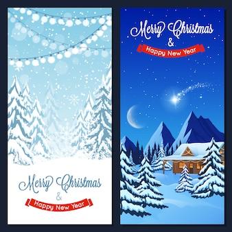 Winterlandschap verticale banners