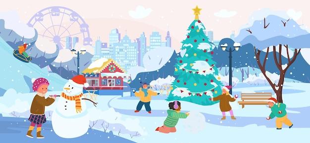 Winterparklandschap met kinderen die sneeuwballen spelen en sneeuwpop maken die op sneeuwbuizen rijdt