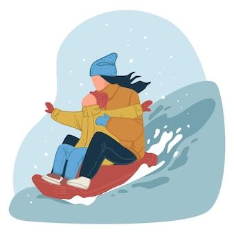Winterplezier en activiteiten voor het hele gezin. moeder en zoon gaan bergafwaarts met slee naar helling. gelukkige mensen die samen genieten van wintervakanties of weekenden. vrolijke karakters. vector in vlakke stijl