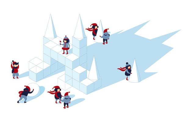 Winterpret in een met sneeuw bedekte speeltuin.