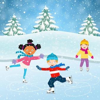 Winters tafereel met schaatsende kinderen