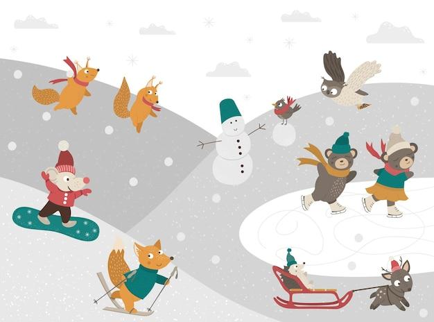Winterscène met bosdieren die sportieve activiteiten doen.