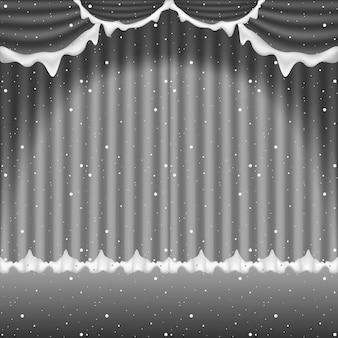 Winterse achtergrond met besneeuwde theatergordijnen met vallende sneeuw