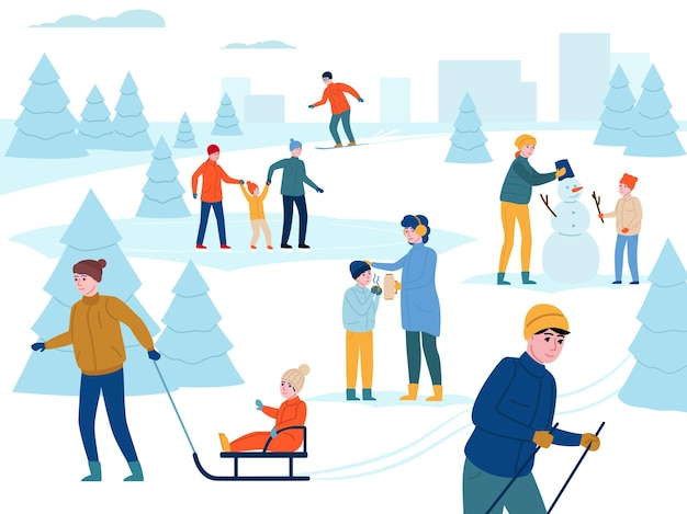 Winterse buitenactiviteit. gelukkige ouders met kinderen lopen, veel plezier in het sneeuwstadspark, mensen gaan skiën, sneeuwpop maken en andere activiteiten buitenshuis vectorachtergrond
