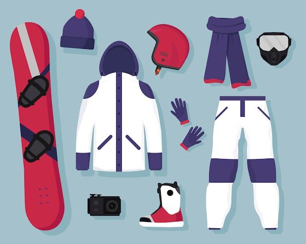 Winterse extreme sporten en actieve recreatie-uitrusting