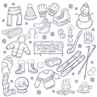 Winterseizoen hand getrokken elementen