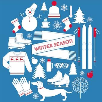 Winterseizoen pictogrammen instellen in retro stijl