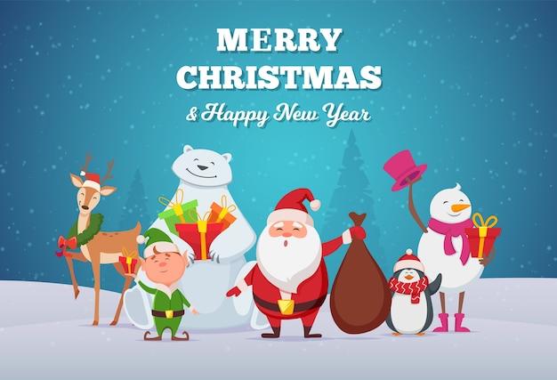 Winterseizoen schattige stripfiguren herten kerstman en sneeuwpop vrienden plezier samen vector. illustratie sneeuwpop en herten, kerst wenskaart