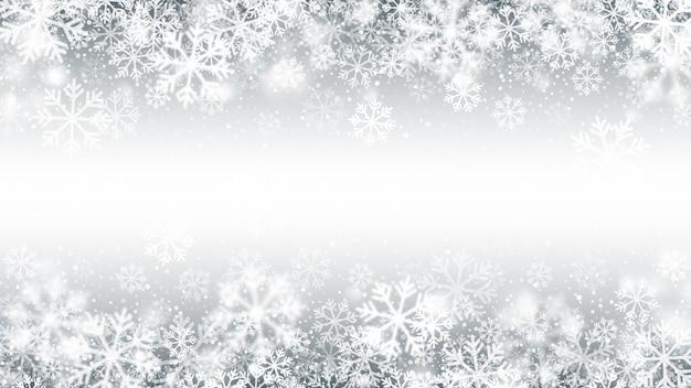 Winterseizoen vallende sneeuw border 3d-effect