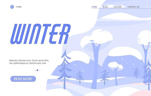 Winterseizoen van de natuur. winterlandschap met sneeuwval, bomen en bergen.