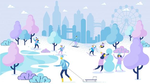 Winterseizoen vrije tijd cartoon mensen plezier in park
