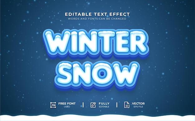 Wintersneeuw bewerkbaar teksteffect