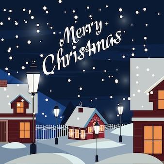 Wintersneeuw stedelijk platteland landscape.village 's nachts. kerst wenskaart. huis in sneeuwval. kerst wenskaart achtergrond poster.