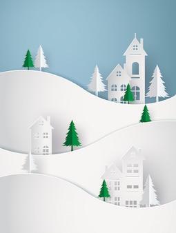Wintersneeuw stedelijk platteland landschap stad dorp met volle maan