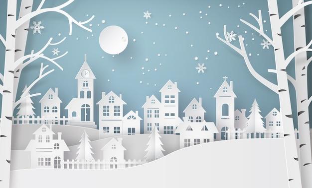 Wintersneeuw stedelijk platteland landschap stadsdorp