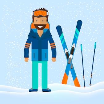 Wintersport achtergrond met karakter en skiën, snowboarden set apparatuur in vlakke stijl ontwerp. elementen voor de afbeelding van het skigebied, bergactiviteiten, vectorillustratie.
