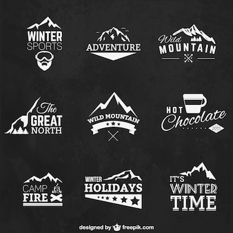 Wintersport badges Premium Vector