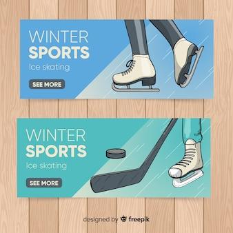Wintersport hand getrokken banner