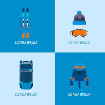 Wintersport iconen collectie. skiën en snowboarden set apparatuur geïsoleerd op een witte achtergrond in vlakke stijl ontwerp. elementen voor het beeld van de skiresort, bergactiviteiten, vectorillustratie.