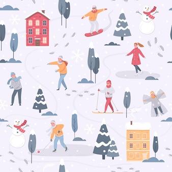Wintersport in het stadspatroon