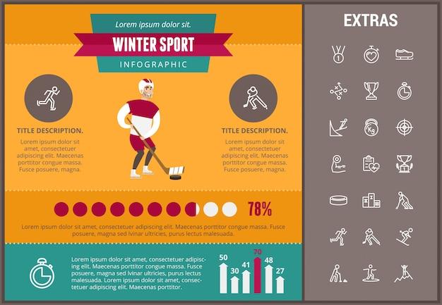 Wintersport infographic sjabloon, elementen, pictogrammen
