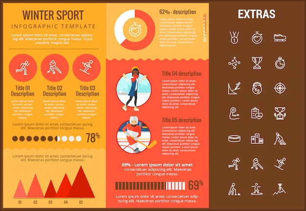 Wintersport infographic sjabloon, elementen, pictogrammen