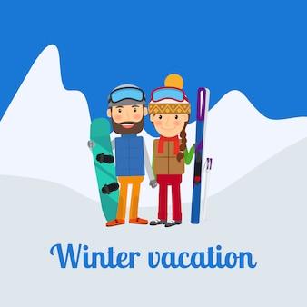 Wintersport, stel op vakantie