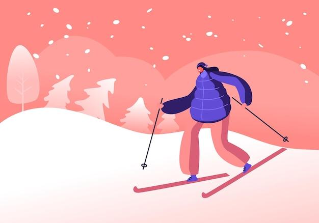 Wintersportactiviteit en vrije tijd. cartoon vlakke afbeelding