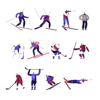 Wintersportactiviteiten hockey, freestyle, biathlon competitie of trainingsset geïsoleerd op een witte achtergrond. cartoon vlakke afbeelding