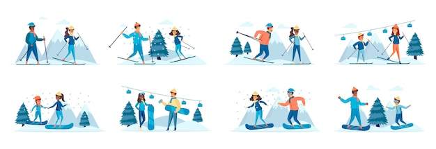 Wintersportactiviteitenbundel van scènes met mensenpersonages