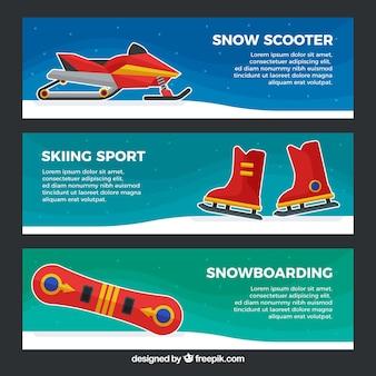 Wintersportbanners voor sneeuwscooter, skiën en snowboarden